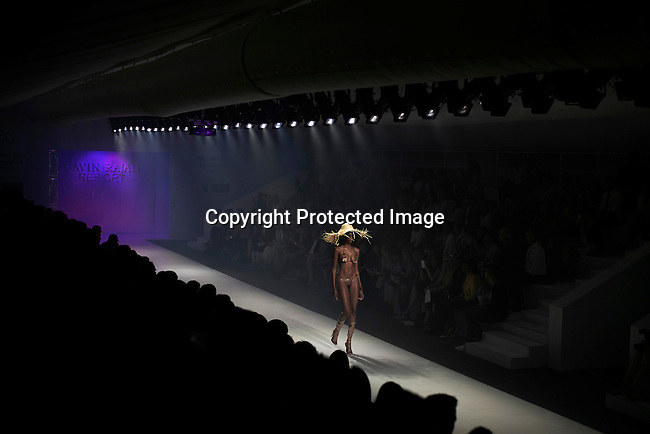 JOHANNESBURG, SOUTH AFRICA – MARCH 6: Model Mala Bryan walks during a show with the South African designer Gavin Rajah, at Johannesburg Fashion Week, held at Melrose Arch, South Africa 2015 (Photo by: Per-Anders Pettersson)