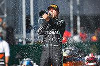 5th July 2020; Red Bull Ring, Spielberg Austria; F1 Grand Prix of Austria, Race Day;  77 Valtteri Bottas FIN, Mercedes-AMG Petronas Formula One Team, celebrates the win in Spielberg Austria