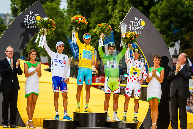 Vincenzo Nibali, Astana Pro Team, Peter Sagan, Cannondale Pro Cycling, Rafal Majka, Tinkoff-Saxo, Thibaut Pinot, FDJ, Tour de France, Stage 21: Évry > Paris Champs-Élysées, UCI WorldTour, 2.UWT, Paris Champs-Élysées, France, 27th July 2014, Photo by Thomas van Bracht