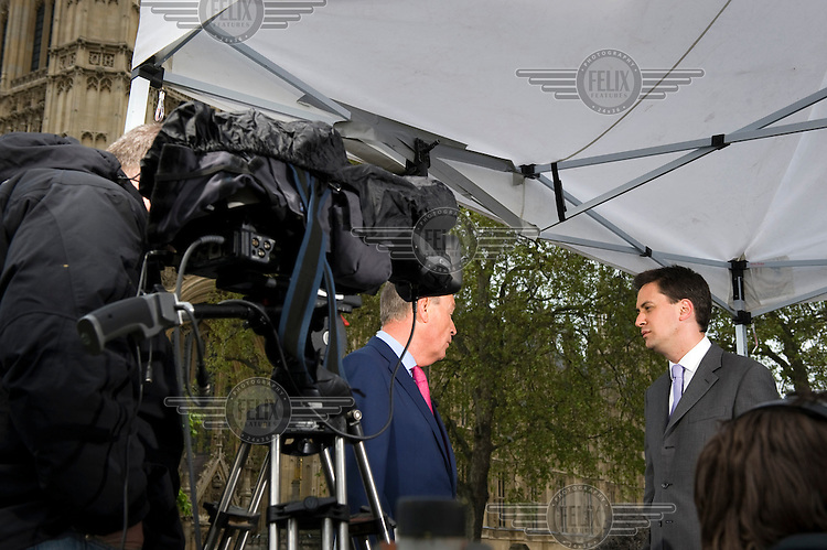 Labour MP Ed Miliband is interviewed by Sky News on College Green in Westminster, London on the day after the general election took place.