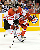 Tyler Myers (Canada - 3), Ondrej Roman (Czech Republic - 10) - Team Canada defeated the Czech Republic 8-1 on the evening of Friday, December 26, 2008, at Scotiabank Place in Kanata (Ottawa), Ontario during the 2009 World Juniors U20 Championship.
