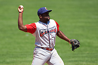 Williamsport Crosscutters second baseman Josh Tobias (33) throws to first during a game against the Batavia Muckdogs on July 16, 2015 at Dwyer Stadium in Batavia, New York.  Batavia defeated Williamsport 4-2.  (Mike Janes/Four Seam Images)