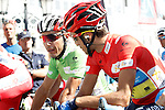 Alberto Contador (r) and Joaquin Purito Rodriguez before the stage of La Vuelta 2012 beetwen Aguilar de Campoo-Valladolid.September 6,2012. (ALTERPHOTOS/Paola Otero)