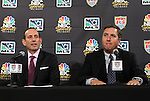 10 August 2011: Major League Soccer commissioner Don Garber (left) and President of NBC Sports Jon Miller (right). MLS and NBC held a press conference at Lincoln Financial Field in Philadelphia, Pennsylvania announcing a three year broadcast deal involving MLS and U.S. Men's National Team games to be shown on NBC and NBC Sports Network (currently Versus) from 2012 to 2014.
