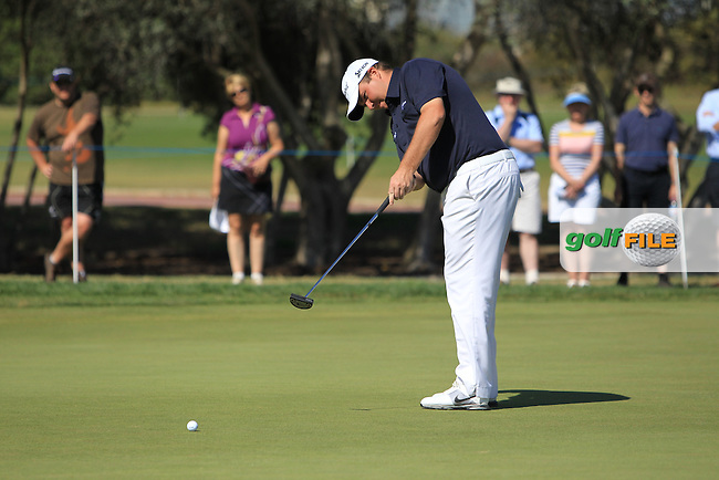 Shane Lowry (IRL) putts on the 1st green during Saturday's Round 3 of the Portugal Masters at the Oceanico Victoria Golf Course, Vilamoura, Portugal 13th October 2012 (Photo Eoin Clarke/www.golffile.ie)