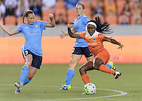 Christine Rampone (3) of Sky Blue FC attempts to strip the ball from Chioma Ubogagu (9) of the Houston Dash on Friday, April 29, 2016 at BBVA Compass Stadium in Houston Texas. The Houston Dynamo and Sky Blue FC tied 0-0.