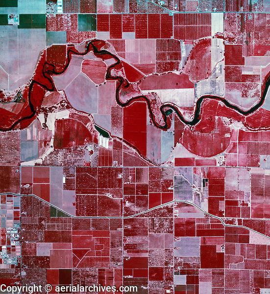 color infrared aerial photograph near Modesto, California