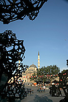 Contemporary art installation erected for the 2010 European City of Culture in Eminonu, Istanbul, Turkey. The Morning Line by Matthew Ritchie and commissioned by Thyssen-Bornemisza Art Contemporary