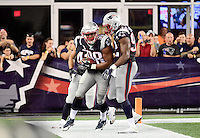 Thursday August 11, 2016: New England Patriots defensive end Trey Flowers (98) celebrates his touchdown after stripping the ball from New Orleans Saints quarterback Luke McCown (7) during an NFL pre-season game between the New Orleans Saints and the New England Patriots held at Gillette Stadium in Foxborough Massachusetts. The Patriots defeat the Saints 34-22 in regulation time. Eric Canha/CSM