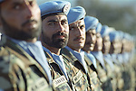 United Nations peacekeepers from Pakistan line up after arriving in Haiti in an attempt to maintain order after the US invasion of the island.