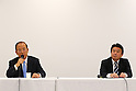 (L-R) Toshiro Muto,  Hidetoshi Maki, SEPTEMBER 1, 2015 : The Tokyo Organising Committee of the Olympic and Paralympic Games holds a media conference in Tokyo, Japan. The Tokyo Organising Committee announced that it would cease to use the controversial emblem for the 2020 Tokyo Olympic and Paralympic Games which has become the subject of claims of plagiarism. (Photo by Shingo Ito/AFLO SPORT)