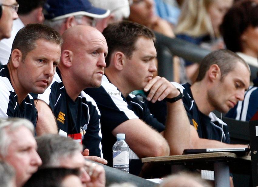 Photo: Richard Lane/Richard Lane Photography. London Wasps v Harlequins. Aviva Premiership. 04/09/2010. Wasps coaches, Tony Hanks, Shaun Edwards and Trevor Woodman.