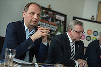 Praesentation der CDU-Kampagne fuer die Abgeordnetenhauswahl am 18. September 2016 in Berlin.<br /> Der CDU-Landesvorsitzende Frank Henkel stellte am Mittwoch den 6. April 2016 zusammen mit dem<br /> Wahlkampfleiter Kai Wegner und dem<br /> Kampagnenmanager Thomas Heilmann die Kampagne der Berliner CDU zur Abgeordnetenhauswahl vor. Konkrete Plakate mit Fotomotiven konnten nur eingeschraenkt gezeigt werden, da die CDU die Nutzungsrechte nicht erworben hat. So wurden den Journalisten nur Plakatideen und das Logo der Kampagne praesentiert.<br /> Im Bild: Thomas Heilmann, Frank Henkel.<br /> 6.4.2016, Berlin<br /> Copyright: Christian-Ditsch.de<br /> [Inhaltsveraendernde Manipulation des Fotos nur nach ausdruecklicher Genehmigung des Fotografen. Vereinbarungen ueber Abtretung von Persoenlichkeitsrechten/Model Release der abgebildeten Person/Personen liegen nicht vor. NO MODEL RELEASE! Nur fuer Redaktionelle Zwecke. Don't publish without copyright Christian-Ditsch.de, Veroeffentlichung nur mit Fotografennennung, sowie gegen Honorar, MwSt. und Beleg. Konto: I N G - D i B a, IBAN DE58500105175400192269, BIC INGDDEFFXXX, Kontakt: post@christian-ditsch.de<br /> Bei der Bearbeitung der Dateiinformationen darf die Urheberkennzeichnung in den EXIF- und  IPTC-Daten nicht entfernt werden, diese sind in digitalen Medien nach §95c UrhG rechtlich geschuetzt. Der Urhebervermerk wird gemaess §13 UrhG verlangt.]