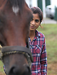 Trainer Aparna Battula with Dr. Goldfarb, a recent claim, at Monmouth Park Racetrack Barn Area on Tuesday September 27, 2016.  Photo By Bill Denver/EQUI-PHOTO.