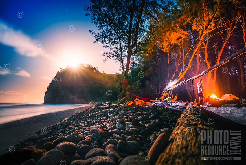 Camping on the beach at Pololu Valley on the North Kohala coastline of the Big Island.