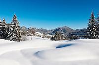 Austria, Tyrol, Kaiserwinkl, near Koessen: winter scenery at the German-Austrian border with Reit im Winkl at background | Oesterreich, Tirol, Kaiserwinkl, bei Koessen: Winterlandschaft an der deutsch-oesterreichischen Grenze, im Hintergrund Reit im Winkl