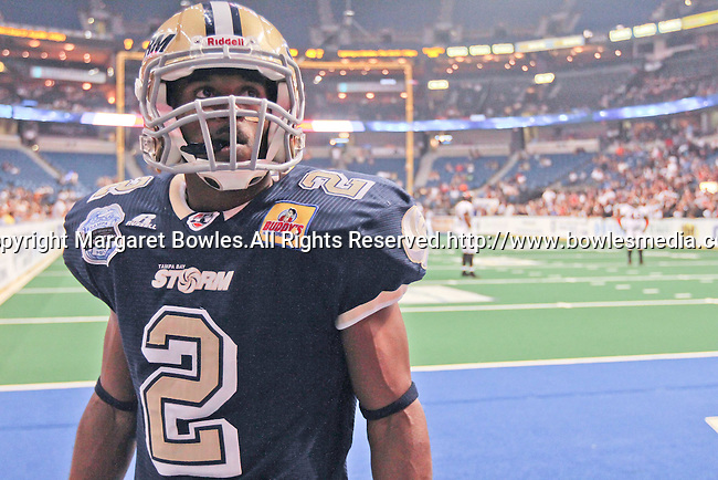 Aug 14, 2010: Tampa Bay Storm wide receiver Sedrick Robinson (#2). The Storm defeated the Predators 63-62 to win the division title at the St. Petersburg Times Forum in Tampa, Florida. (Mandatory Credit:  Margaret Bowles)