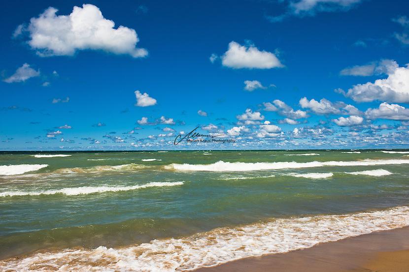 Fresh northerly breeze and distant horizon over Lake Michigan.