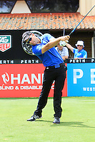 Ricardo Gonzalez (ARG) on the 1st tee during Round 1 of the ISPS HANDA Perth International at the Lake Karrinyup Country Club on Thursday 23rd October 2014.<br /> Picture:  Thos Caffrey / www.golffile.ie