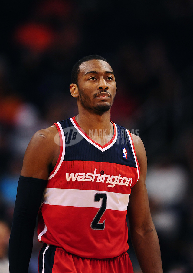 Feb. 20, 2012; Phoenix, AZ, USA; Washington Wizards forward John Wall during game against the Phoenix Suns at the US Airways Center. The Suns defeated the Wizards 104-88. Mandatory Credit: Mark J. Rebilas-.
