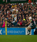 30th September 2017, Welford Road, Leicester, England; Aviva Premiership rugby, Leicester Tigers versus Exeter Chiefs;  Phil Dollman (Exeter) goes arial for the high ball