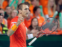 07-05-10, Tennis, Zoetermeer, Daviscup Nederland-Italie, Thiemo se Bakker  sis gefrustreerd