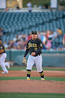 Salt Lake Bees starting pitcher Jose Suarez (17) during the game against the Reno Aces at Smith's Ballpark on June 26, 2019 in Salt Lake City, Utah. The Aces defeated the Bees 6-4. (Stephen Smith/Four Seam Images)