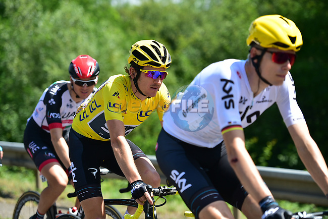 The peloton including race leader Yellow Jersey Geraint Thomas (WAL) Team Sky in action during Stage 4 of the 104th edition of the Tour de France 2017, running 207.5km from Mondorf-les-Bains, Luxembourg to Vittel, France. 4th July 2017.<br /> Picture: ASO/Pauline Ballet | Cyclefile<br /> <br /> <br /> All photos usage must carry mandatory copyright credit (&copy; Cyclefile | ASO/Pauline Ballet)