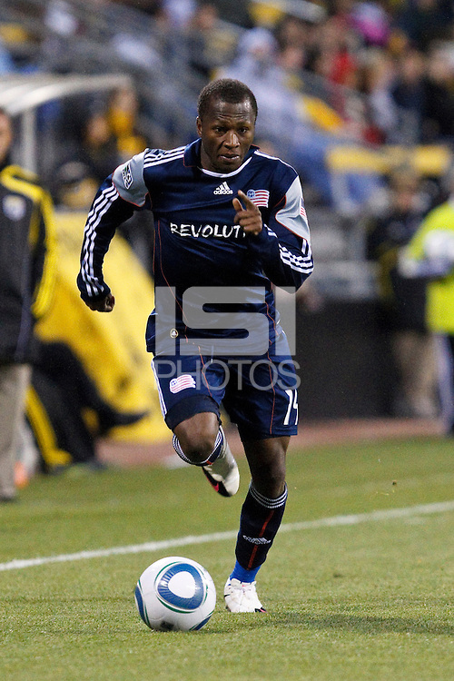 8 MAY 2010:  New England Revolutions' Sainey Nyassi (14) during MLS soccer game between New England Revolution vs Columbus Crew at Crew Stadium in Columbus, Ohio on May 8, 2010. The Columbus defeated New England 3-2.