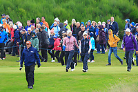 Carlota Ciganda and Bronte Law of Team Europe walking to the 4th tee during Day 2 Foursomes at the Solheim Cup 2019, Gleneagles Golf CLub, Auchterarder, Perthshire, Scotland. 14/09/2019.<br /> Picture Thos Caffrey / Golffile.ie<br /> <br /> All photo usage must carry mandatory copyright credit (© Golffile | Thos Caffrey)