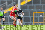 Liam Kearney East Kerry stops Ardfert's Rory Horgan during their Senior County Championship clash in Fitzgerald Stadium on Saturday