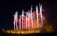 Fuochi d'artificio a Castel Sant'Angelo, in occasione della festa dei  Santi Pietro e Paolo, Patroni di Roma, 29 giugno 2015.<br /> Fireworks explode over St. Angel Castle, on the occasion of Rome's Patrons Saints Peter and Paul feast, in Rome, 29 June 2015.<br /> UPDATE IMAGES PRESS/Riccardo De Luca