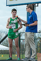 York High School senior Matt Plowman of Elmhurst, Il.  is interviewed after winning the boys 1600-meters in 4:11.43 at the 2015 Kansas Relays in Lawrence, Ks. Friday, April 17th to earn a berth in the Adidas Grand Prix Dream Mile race in New York City in June.