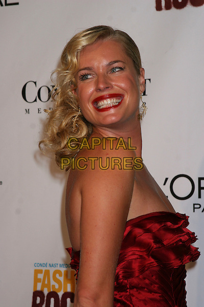 REBECCA ROMIJN.Arrivals at Fashion Rocks held at Radio City Music Hall,.New York, 8th September 2005.half length red satin dress strappless over shoulder lips lipstick.Ref: IW.www.capitalpictures.com.sales@capitalpictures.com.©Capital Pictures
