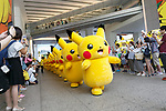 Pikachu characters march at a shopping mall in Yokohama Minatomirai on August 9, 2017, Yokohama, Japan. Hundreds of Pokemon GO app fans gathered at the special Pokemon GO PARK, a 2km area including special PokeStops and PokemonGyms, to collect characters. Minatomirai holds an annual Pokemon event including a parade of 1500 Pikachu through the area and this year has added Pokemon GO attractions. Pokemon GO PARK is open from August 9 to 15. (Photo by Rodrigo Reyes Marin/AFLO)