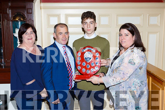Castleisland contingent who won best Track and Field team at the Kerry Community games awards in the River Island Hotel on Friday night Catherine and Ciaran McGaley, Sean Óg McGaley and Brid Kenny
