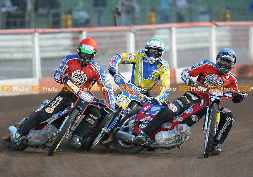 Heat 3 - Kasprzak (red), Hefenbrock, Protasiewicz - Lakeside Hammers vs Oxford Cheetahs - Sky Sports Elite League at Arena Essex, Purfleet - 28/04/07- MANDATORY CREDIT: Gavin Ellis/TGSPHOTO - IMAGES USED WILL BE INVOICED AT STANDARD RATES..