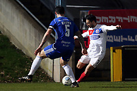 Luke Howell of Dagenham  and Matty Brown of Halifax Town during FC Halifax Town vs Dagenham & Redbridge, Vanarama National League Football at The Shay on 13th March 2018