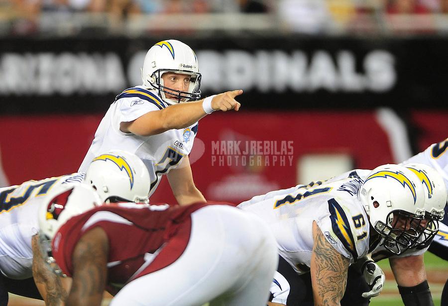 Aug. 22, 2009; Glendale, AZ, USA; San Diego Chargers quarterback (7) Billy Volek against the Arizona Cardinals during a preseason game at University of Phoenix Stadium. Mandatory Credit: Mark J. Rebilas-