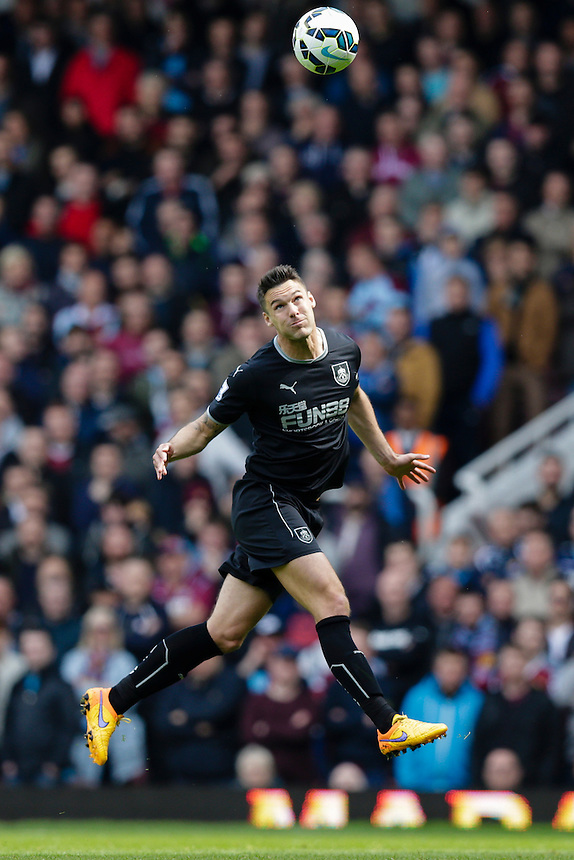 Burnley's Jason Shackell in action during todays match  <br /> <br /> Photographer Craig Mercer/CameraSport<br /> <br /> Football - Barclays Premiership - West Ham United v Burnley - Saturday 2nd May 2015 - Boleyn Ground - London<br /> <br /> &copy; CameraSport - 43 Linden Ave. Countesthorpe. Leicester. England. LE8 5PG - Tel: +44 (0) 116 277 4147 - admin@camerasport.com - www.camerasport.com