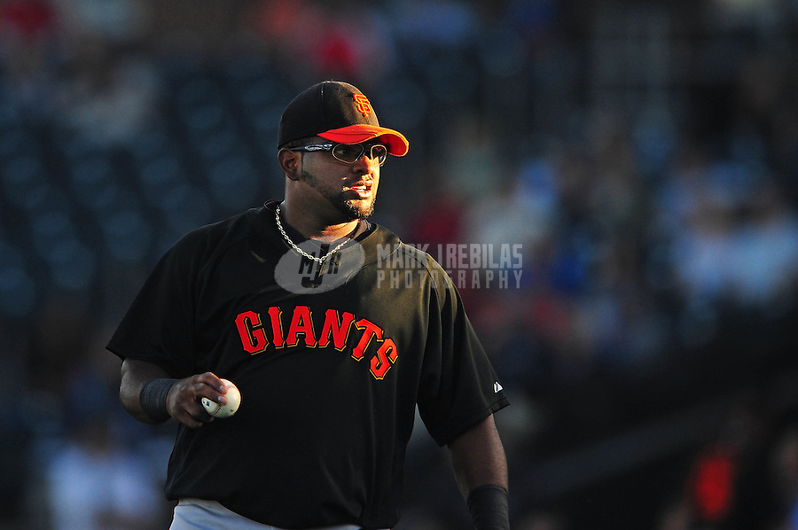 Mar. 15, 2010; Surprise, AZ, USA; San Francisco Giants third baseman Pablo Sandoval against the Texas Rangers during a spring training game at Surprise Stadium. Mandatory Credit: Mark J. Rebilas-