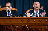 United States Representative Doug Collins (Republican of Georgia), Ranking Member, US House Judiciary Committee, speaks alongside US Representative Jerrold Nadler (Democrat of New York), Chairman, US House Judiciary Committee, during a US House Judiciary Committee hearing on the impeachment of US President Donald Trump on Capitol Hill in Washington, DC, December 4, 2019.<br /> Credit: Saul Loeb / Pool via CNP