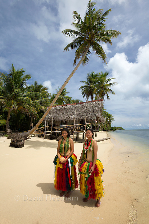 These young girls (MR) are in a traditional outfit for cultural cerimonies on the island of Yap, Micronesia.