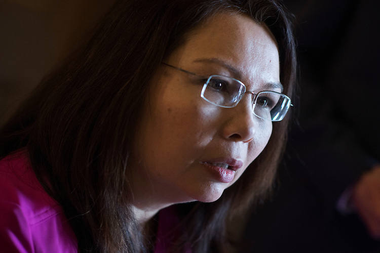 UNITED STATES - FEBRUARY 28: Sen. Tammy Duckworth, D-Ill., talks with reporters before the Senate Policy luncheons in the Capitol, February 28, 2017. (Photo By Tom Williams/CQ Roll Call)