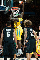 Melbourne, 15 August 2015 - Nate JAWAI of Australia dunks the ball in game one of the 2015 FIBA Oceania Championships in men's basketball between the Australian Boomers and the New Zealand Tall Blacks at Rod Laver Arena in Melbourne, Australia. Aus def NZ 71-59. (Photo Sydney Low / sydlow.com)