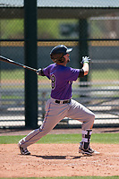 Colorado Rockies shortstop LJ Hatch (38) follows through on his swing during an Extended Spring Training game against the Chicago Cubs at Sloan Park on April 17, 2018 in Mesa, Arizona. (Zachary Lucy/Four Seam Images)
