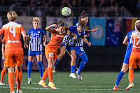 Allston, MA - Wednesday Aug. 31, 2016: Carli Lloyd, Angela Salem, Ghoutia Karchouni during a regular season National Women's Soccer League (NWSL) match between the Boston Breakers and the Houston Dash at Jordan Field.