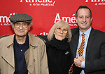 Sheldon Harnick, Margery Harnick and Aaron Harnick attend the Broadway Opening Night performance of 'Amelie' at the Walter Kerr Theatre on April 3, 2017 in New York City
