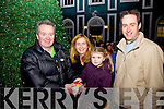 Turning on the Christmas lights in Cahersiveen on Monday evening last were l-r; Colman Quirke(Cahersiveen Traders), Kathleen Lynch, Mary Kate O'Sullivan & Vincent Devlin(Chairman Cahersiveen Traders).  Mary Kate was the winner of the Radio Kerry Competition to turn on the lights.