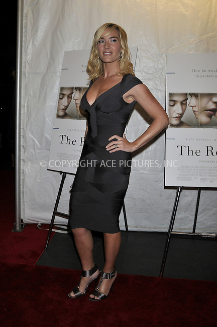 WWW.ACEPIXS.COM . . . . .  ....December 3, 2008. New York City.....Actress Kate Winslet attends 'The Reader' premiere held at the Ziegfeld Theatre December 3, 2008 in New York City.  ......Please byline: AJ Sokalner - ACEPIXS.COM.... *** ***..Ace Pictures, Inc:  ..Philip Vaughan (646) 769 0430..e-mail: info@acepixs.com..web: http://www.acepixs.com